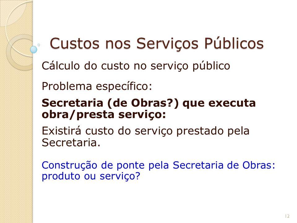 Custos nos Serviços Públicos Cálculo do custo no serviço público Problema específico: Secretaria (de Obras?) que executa obra/presta serviço: Existirá