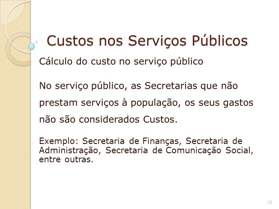 Custos nos Serviços Públicos Cálculo do custo no serviço público No serviço público, as Secretarias que não prestam serviços à população, os seus gast