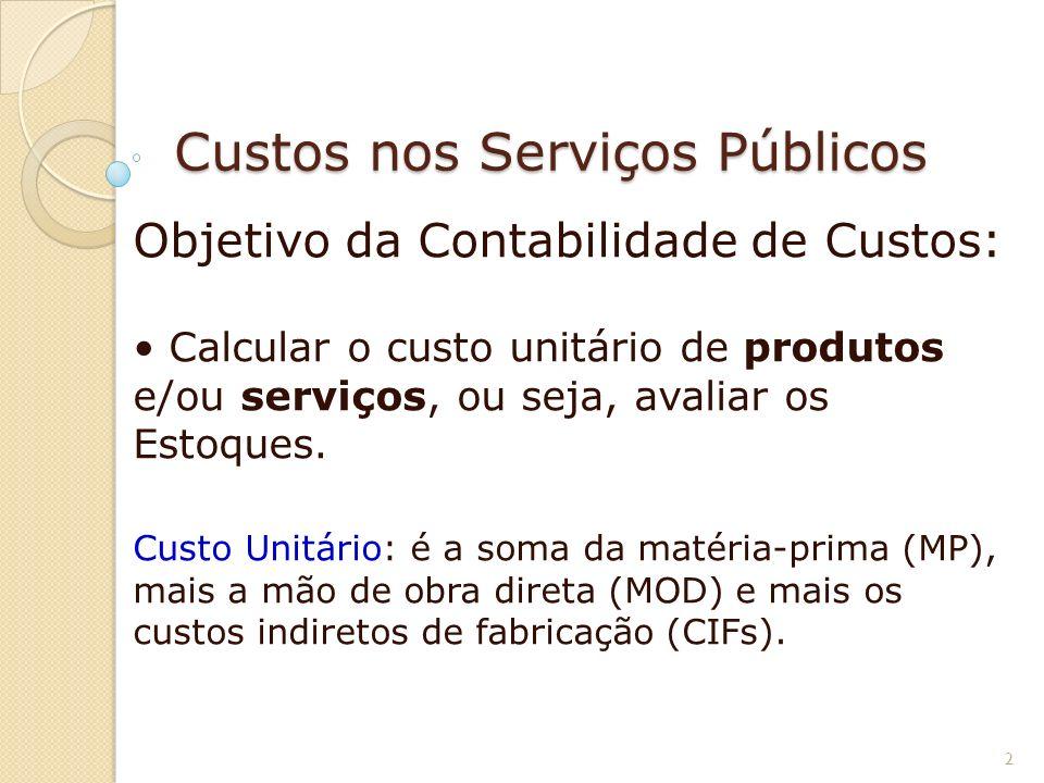 Custos nos Serviços Públicos Objetivo da Contabilidade de Custos: Calcular o custo unitário de produtos e/ou serviços, ou seja, avaliar os Estoques. C