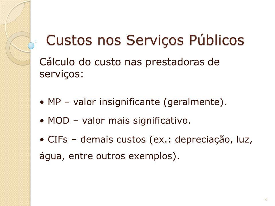 Custos nos Serviços Públicos Cálculo do custo nas prestadoras de serviços: MP – valor insignificante (geralmente). MOD – valor mais significativo. CIF