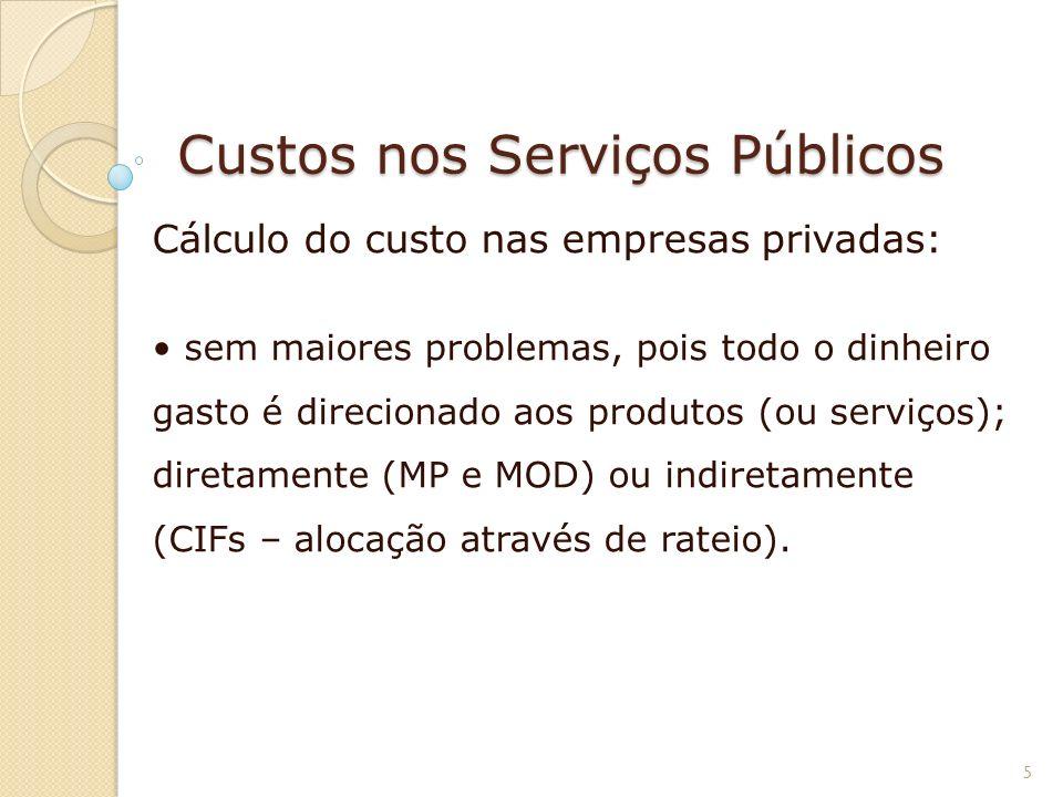 Custos nos Serviços Públicos Cálculo do custo nas empresas privadas: sem maiores problemas, pois todo o dinheiro gasto é direcionado aos produtos (ou