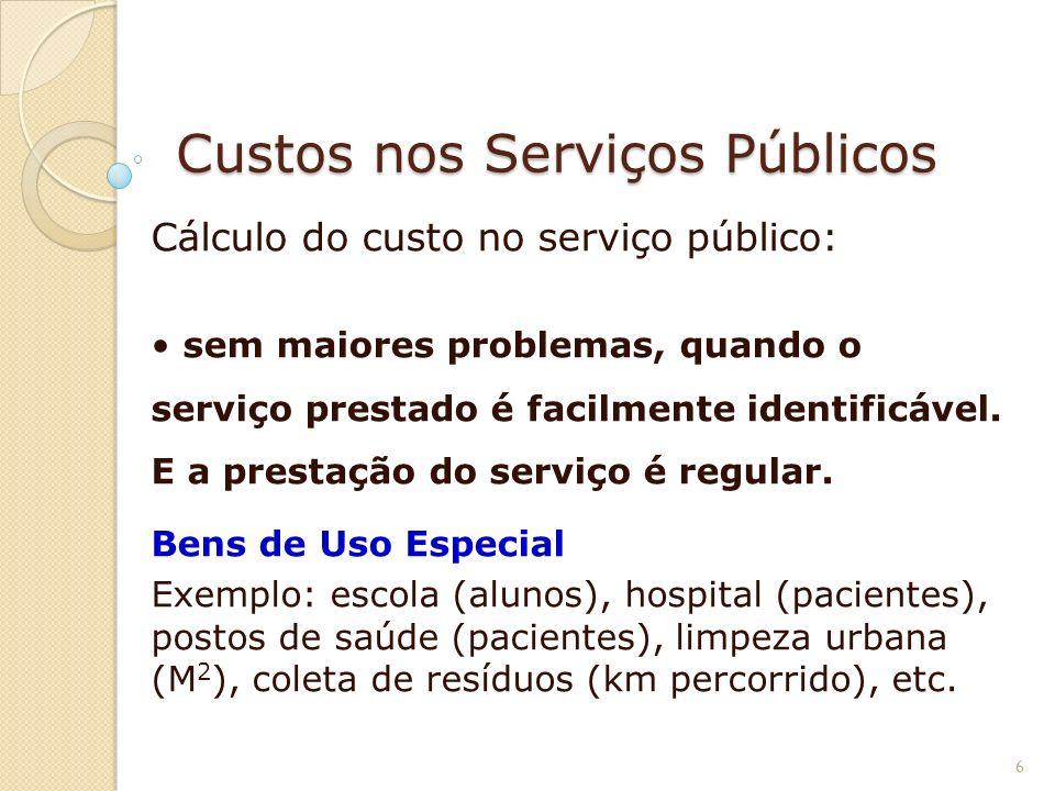 Custos nos Serviços Públicos Cálculo do custo no serviço público: sem maiores problemas, quando o serviço prestado é facilmente identificável. E a pre