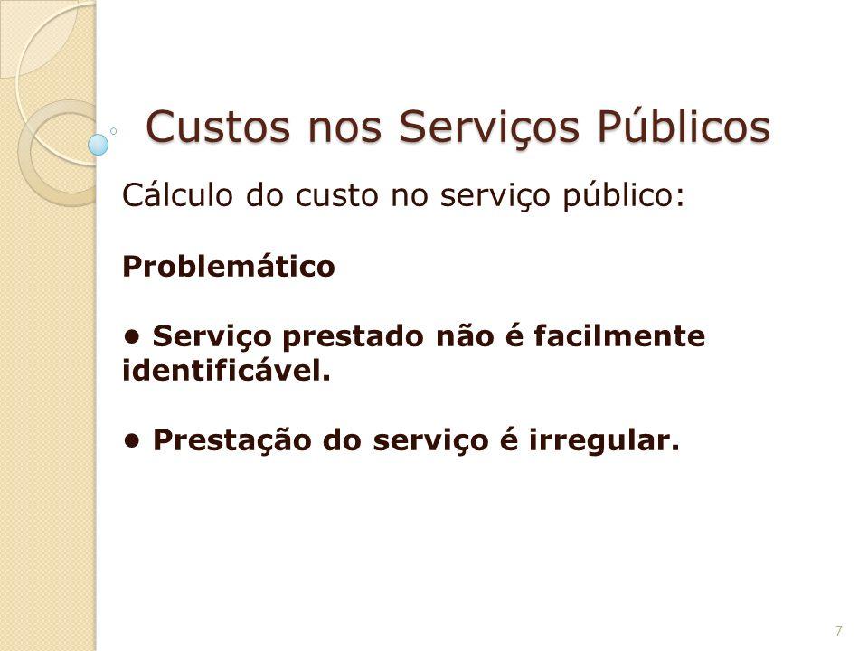Custos nos Serviços Públicos Cálculo do custo no serviço público: Problemático Serviço prestado não é facilmente identificável. Prestação do serviço é