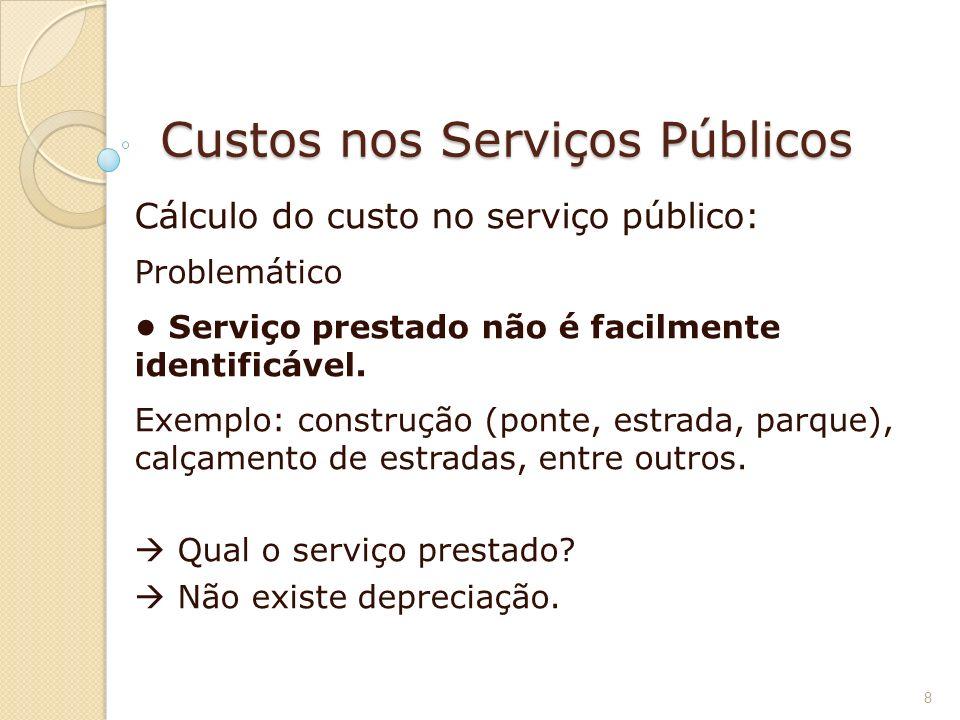 Custos nos Serviços Públicos Cálculo do custo no serviço público: Problemático Serviço prestado não é facilmente identificável. Exemplo: construção (p