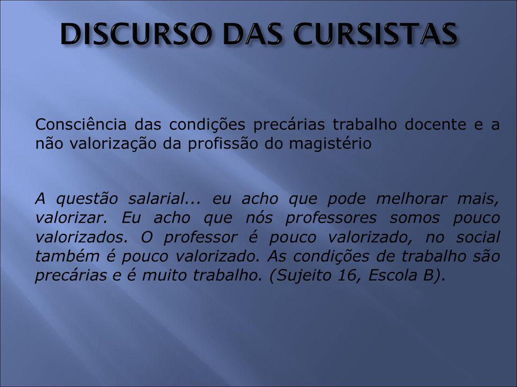 Consciência das condições precárias trabalho docente e a não valorização da profissão do magistério A questão salarial...