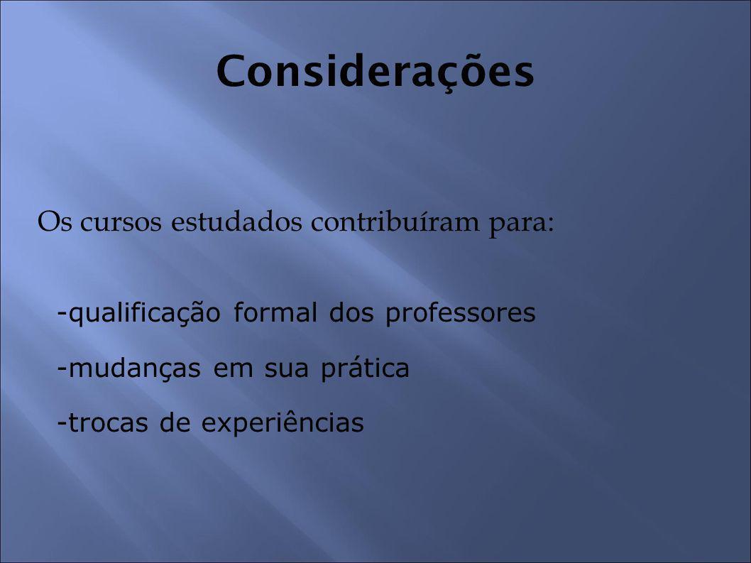 Os cursos estudados contribuíram para: -qualificação formal dos professores -mudanças em sua prática -trocas de experiências Considerações