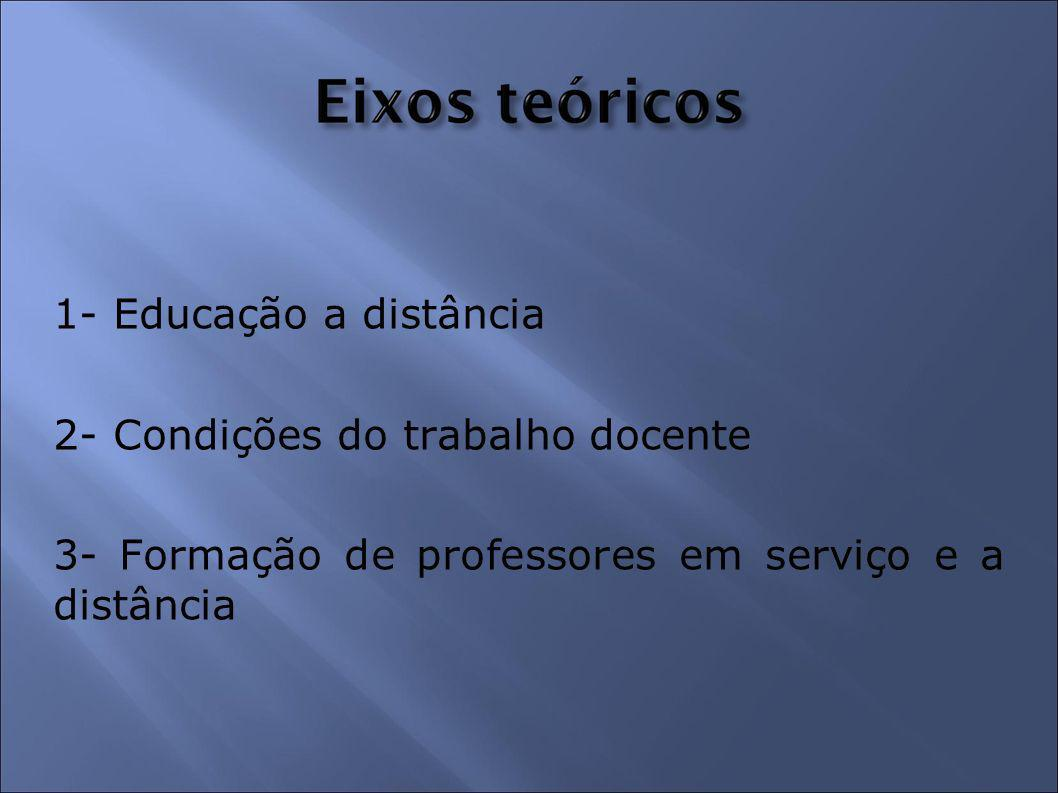 1- Educação a distância 2- Condições do trabalho docente 3- Formação de professores em serviço e a distância