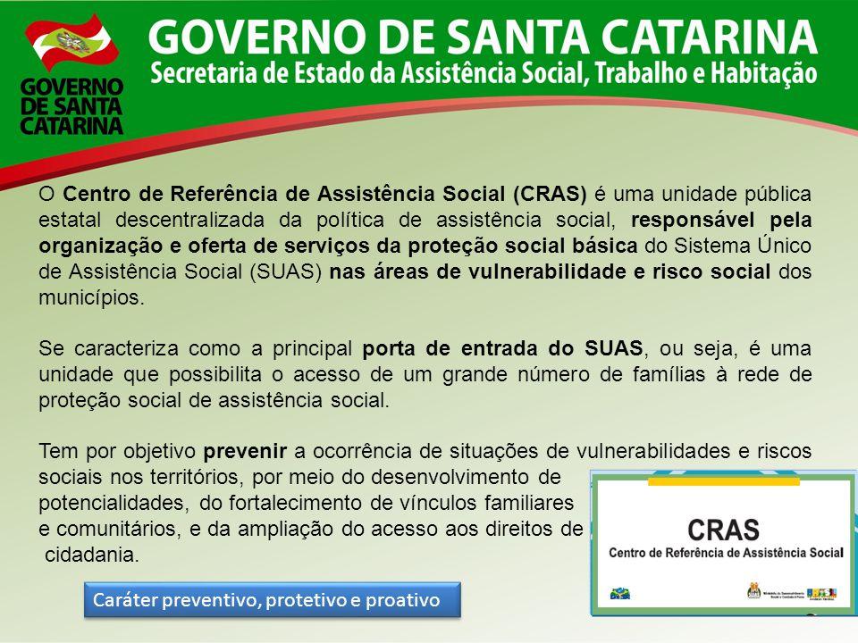 O CRAS é referência para o desenvolvimento dos serviços socioassistenciais de proteção básica do Sistema Único de Assistência Social – SUAS, no seu território de abrangência.