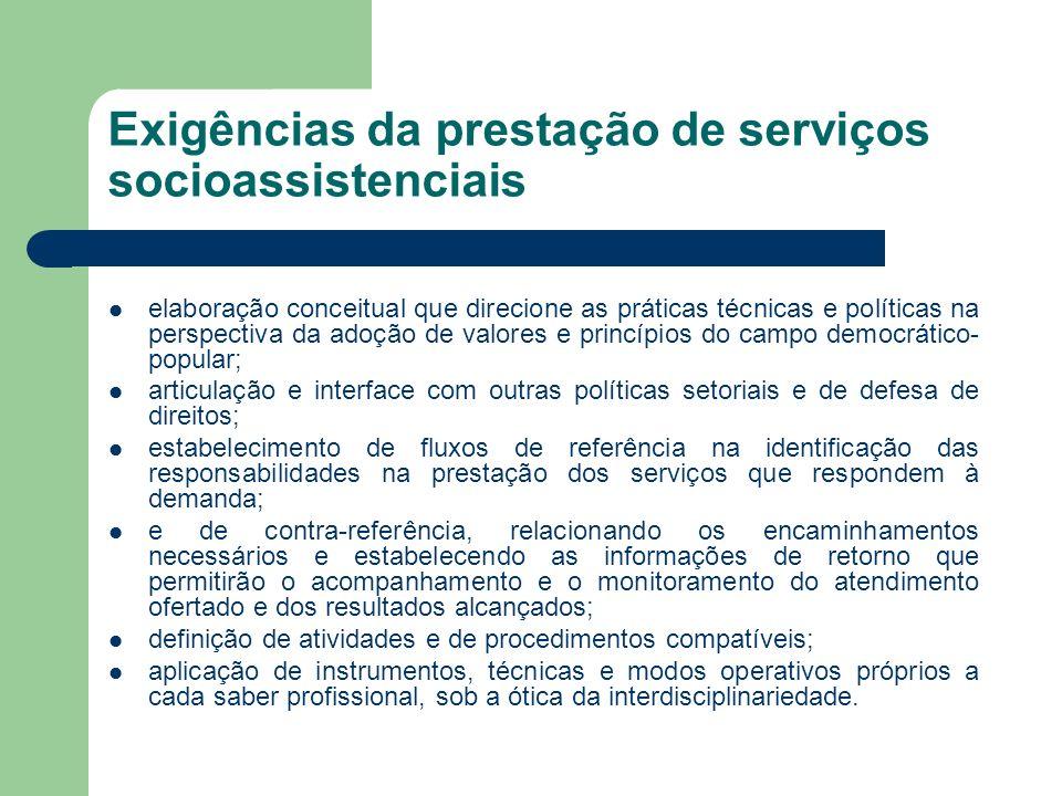 Exigências da prestação de serviços socioassistenciais elaboração conceitual que direcione as práticas técnicas e políticas na perspectiva da adoção d