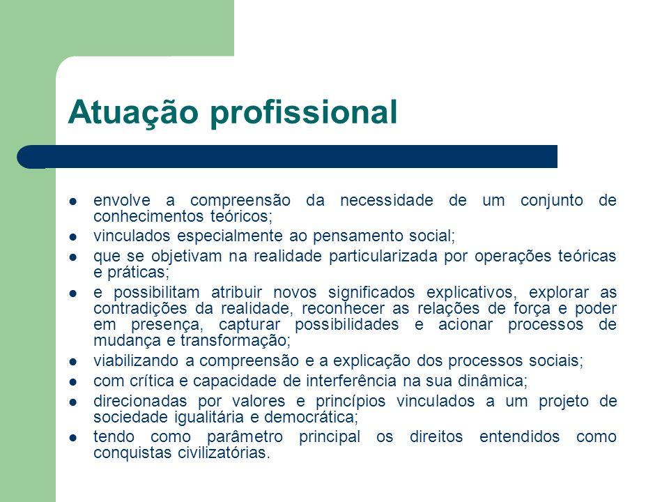 Atuação profissional envolve a compreensão da necessidade de um conjunto de conhecimentos teóricos; vinculados especialmente ao pensamento social; que