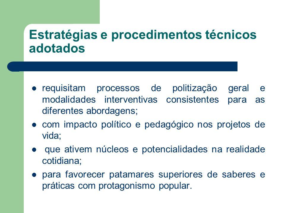 Estratégias e procedimentos técnicos adotados requisitam processos de politização geral e modalidades interventivas consistentes para as diferentes ab