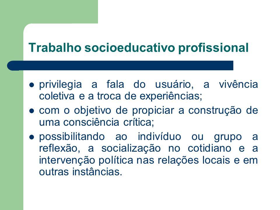 Trabalho socioeducativo profissional privilegia a fala do usuário, a vivência coletiva e a troca de experiências; com o objetivo de propiciar a constr