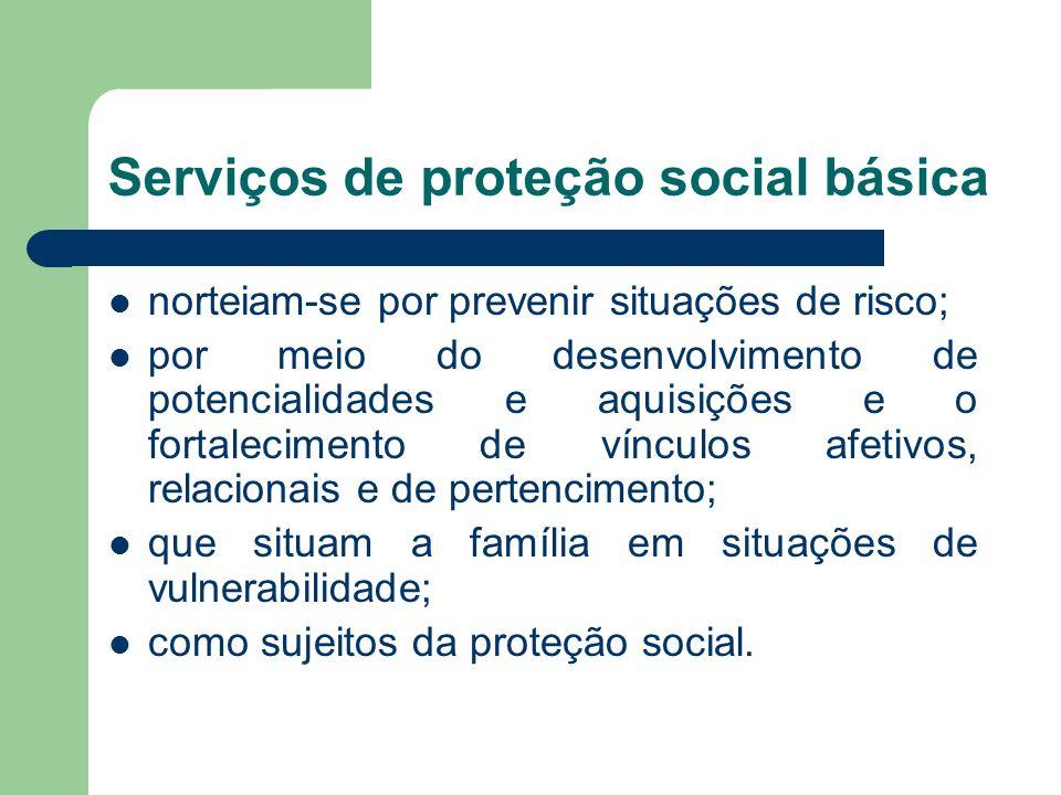 Serviços de proteção social básica norteiam-se por prevenir situações de risco; por meio do desenvolvimento de potencialidades e aquisições e o fortalecimento de vínculos afetivos, relacionais e de pertencimento; que situam a família em situações de vulnerabilidade; como sujeitos da proteção social.