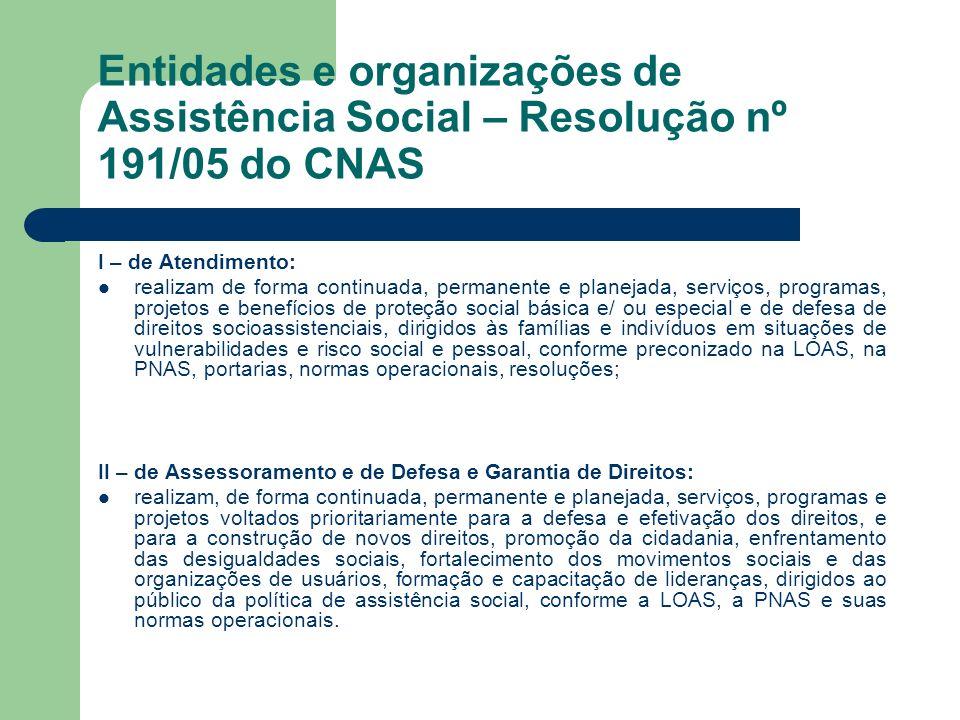 Entidades e organizações de Assistência Social – Resolução nº 191/05 do CNAS I – de Atendimento: realizam de forma continuada, permanente e planejada,