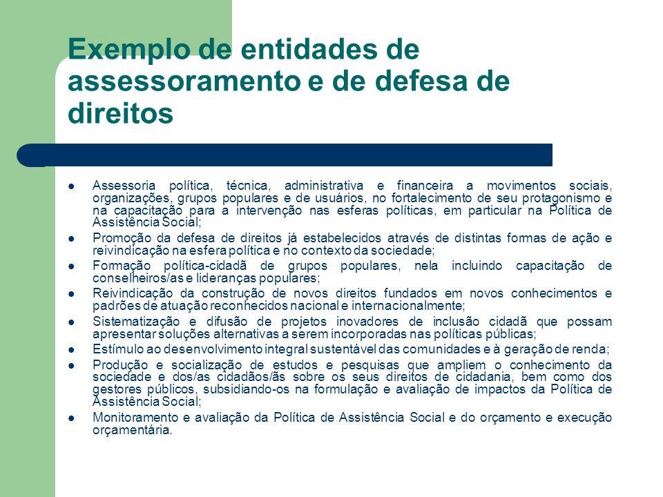 Exemplo de entidades de assessoramento e de defesa de direitos Assessoria política, técnica, administrativa e financeira a movimentos sociais, organiz