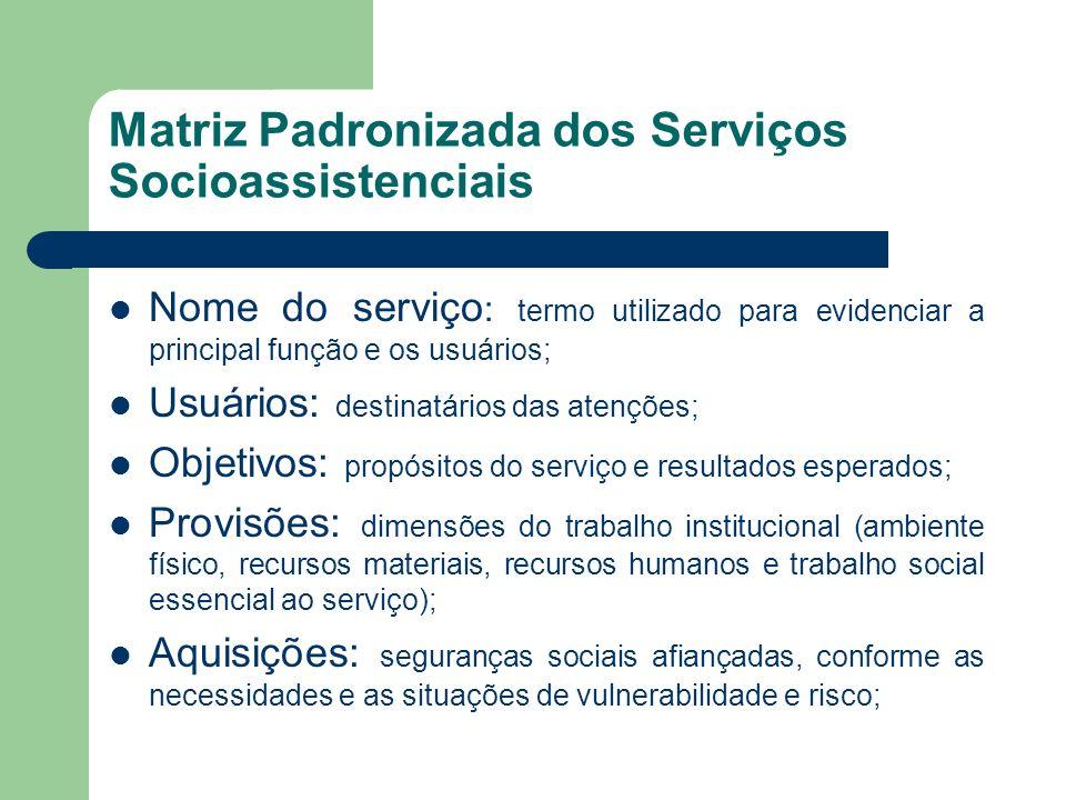 Matriz Padronizada dos Serviços Socioassistenciais Nome do serviço : termo utilizado para evidenciar a principal função e os usuários; Usuários: desti