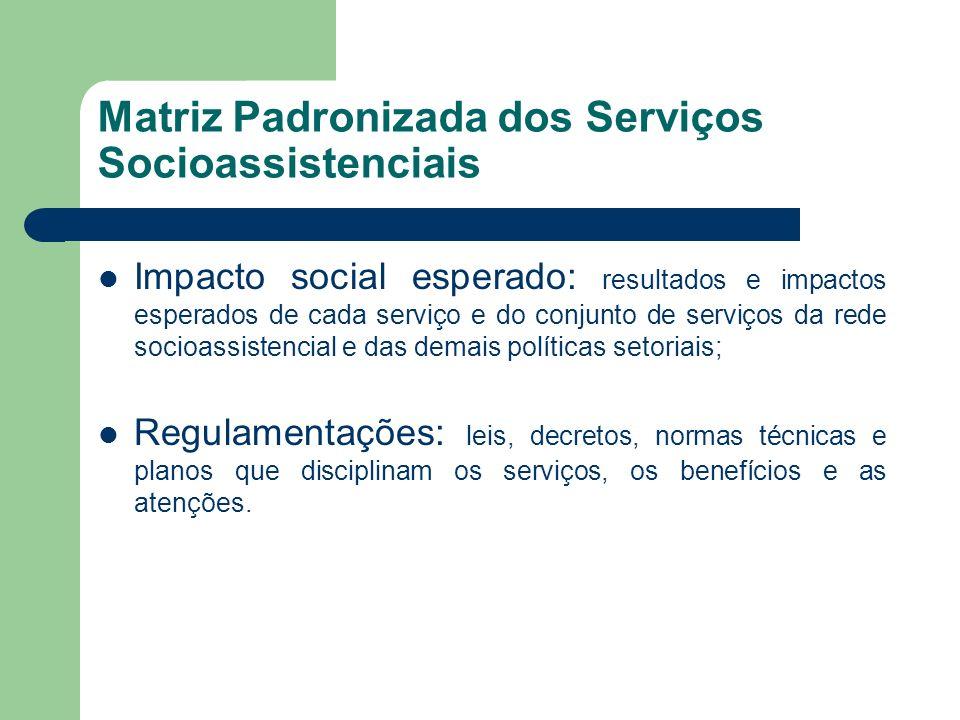 Matriz Padronizada dos Serviços Socioassistenciais Impacto social esperado: resultados e impactos esperados de cada serviço e do conjunto de serviços