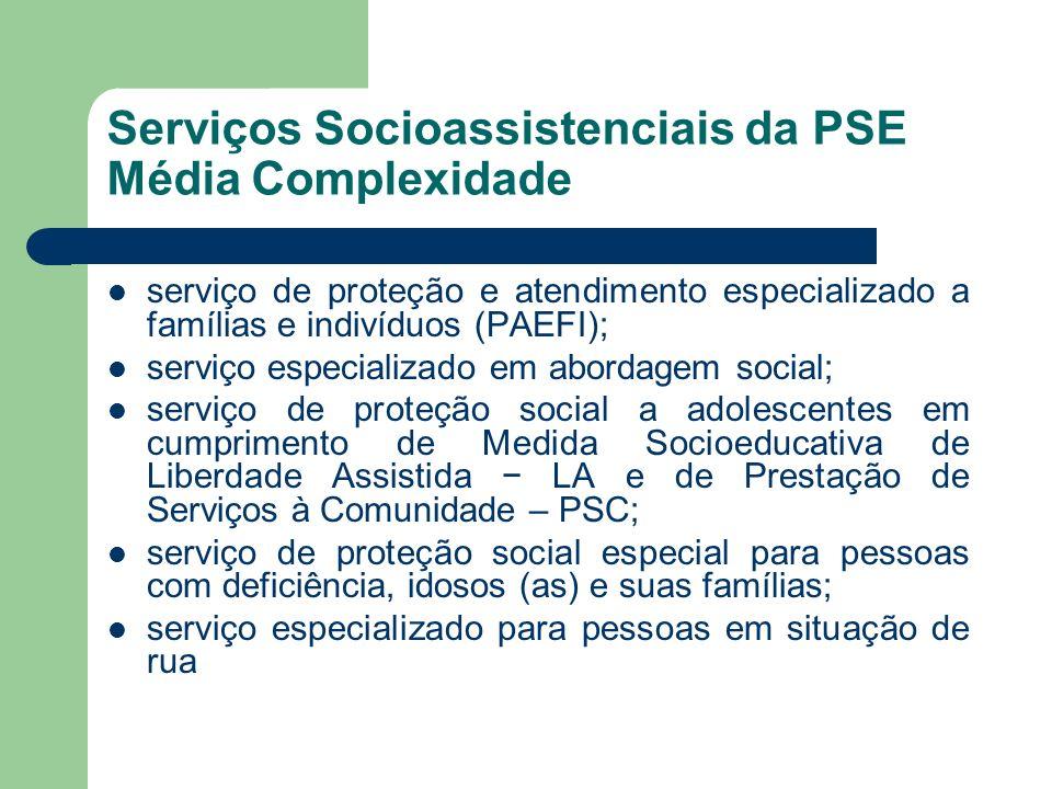 Serviços Socioassistenciais da PSE Média Complexidade serviço de proteção e atendimento especializado a famílias e indivíduos (PAEFI); serviço especia