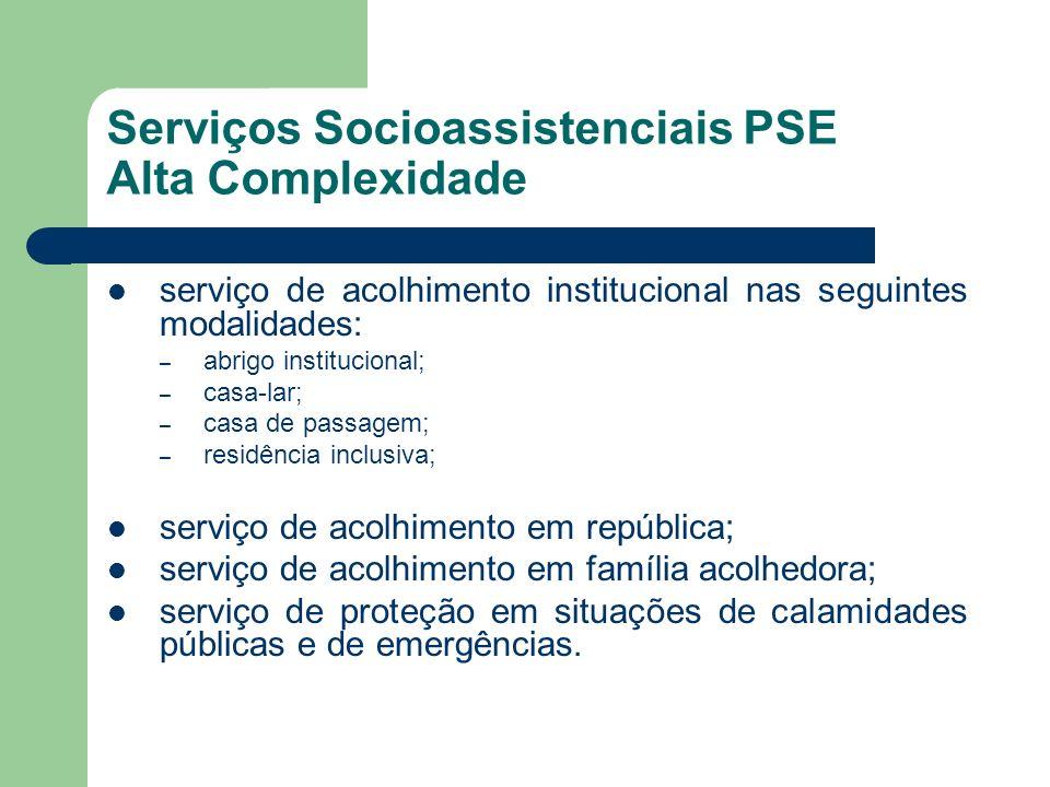 Serviços Socioassistenciais PSE Alta Complexidade serviço de acolhimento institucional nas seguintes modalidades: – abrigo institucional; – casa-lar;
