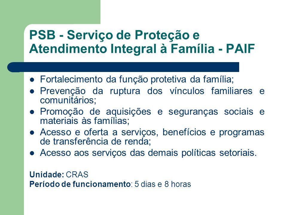 PSB - Serviço de Proteção e Atendimento Integral à Família - PAIF Fortalecimento da função protetiva da família; Prevenção da ruptura dos vínculos fam