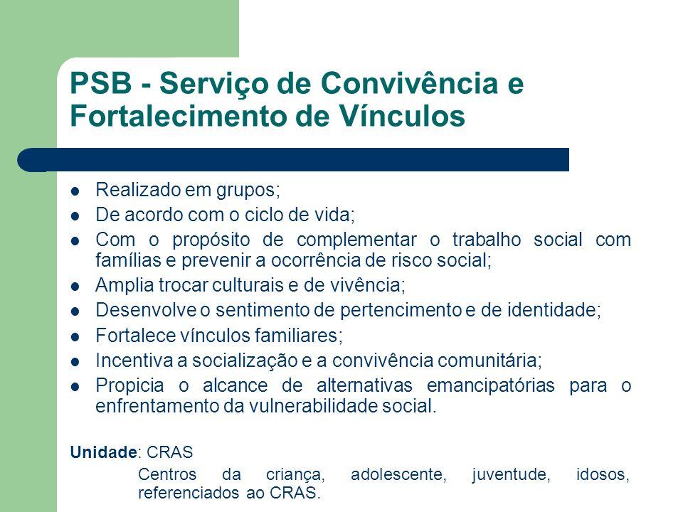PSB - Serviço de Convivência e Fortalecimento de Vínculos Realizado em grupos; De acordo com o ciclo de vida; Com o propósito de complementar o trabal