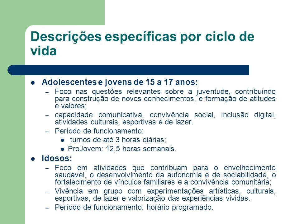 Descrições específicas por ciclo de vida Adolescentes e jovens de 15 a 17 anos: – Foco nas questões relevantes sobre a juventude, contribuindo para co