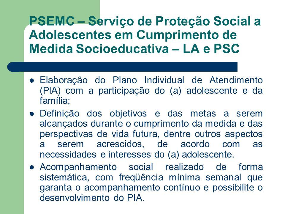 PSEMC – Serviço de Proteção Social a Adolescentes em Cumprimento de Medida Socioeducativa – LA e PSC Elaboração do Plano Individual de Atendimento (Pl