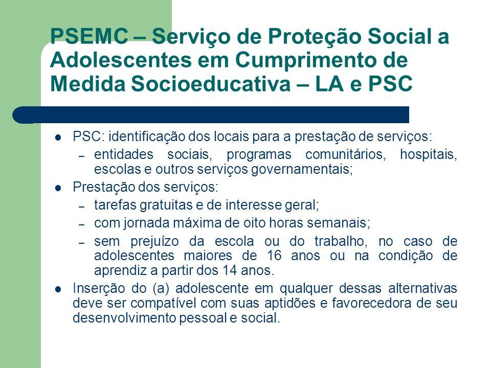 PSEMC – Serviço de Proteção Social a Adolescentes em Cumprimento de Medida Socioeducativa – LA e PSC PSC: identificação dos locais para a prestação de