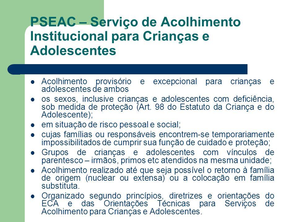 PSEAC – Serviço de Acolhimento Institucional para Crianças e Adolescentes Acolhimento provisório e excepcional para crianças e adolescentes de ambos o