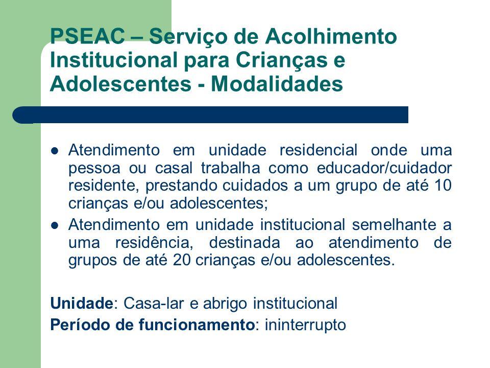 PSEAC – Serviço de Acolhimento Institucional para Crianças e Adolescentes - Modalidades Atendimento em unidade residencial onde uma pessoa ou casal tr