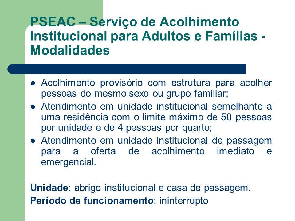 PSEAC – Serviço de Acolhimento Institucional para Adultos e Famílias - Modalidades Acolhimento provisório com estrutura para acolher pessoas do mesmo