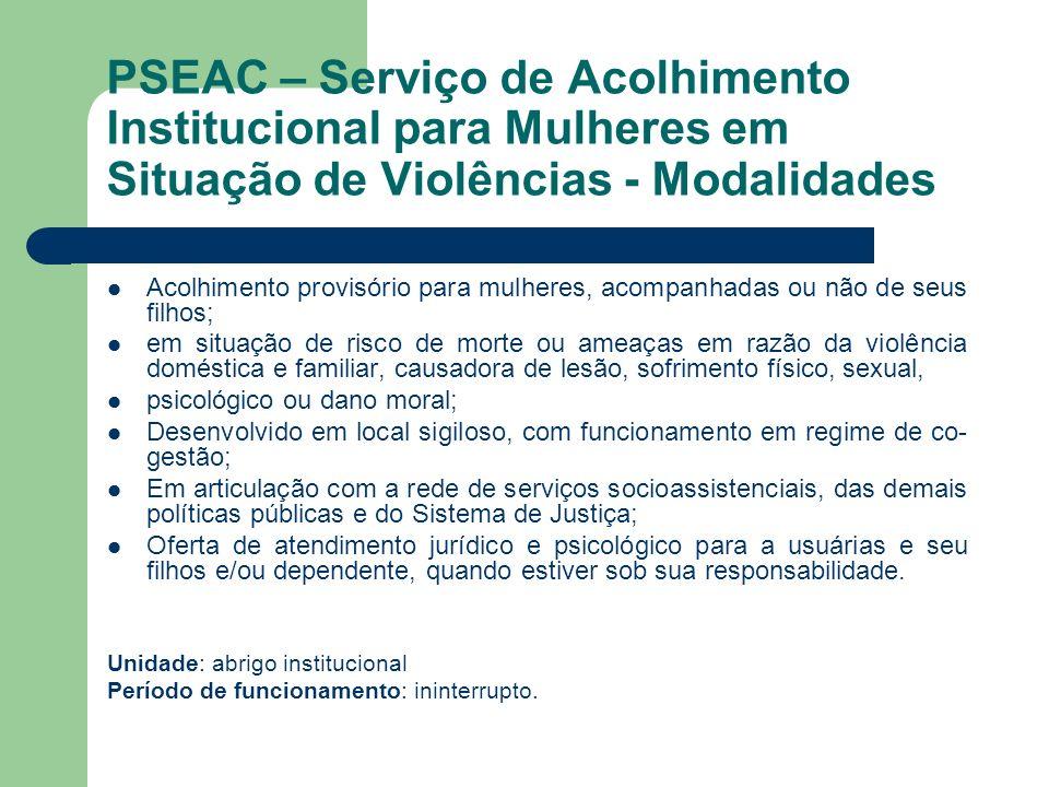 PSEAC – Serviço de Acolhimento Institucional para Mulheres em Situação de Violências - Modalidades Acolhimento provisório para mulheres, acompanhadas