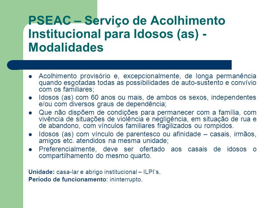 PSEAC – Serviço de Acolhimento Institucional para Idosos (as) - Modalidades Acolhimento provisório e, excepcionalmente, de longa permanência quando es