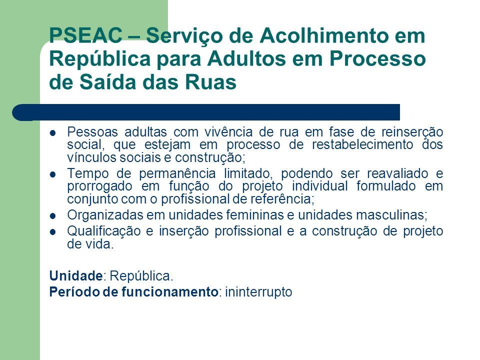 PSEAC – Serviço de Acolhimento em República para Adultos em Processo de Saída das Ruas Pessoas adultas com vivência de rua em fase de reinserção socia