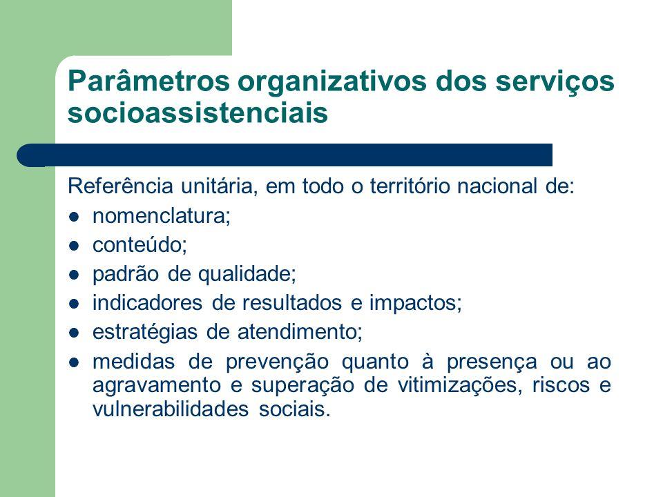 Parâmetros organizativos dos serviços socioassistenciais Referência unitária, em todo o território nacional de: nomenclatura; conteúdo; padrão de qual