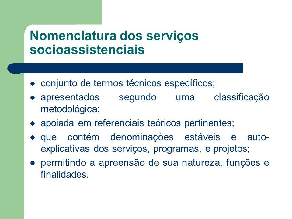 Nomenclatura dos serviços socioassistenciais conjunto de termos técnicos específicos; apresentados segundo uma classificação metodológica; apoiada em