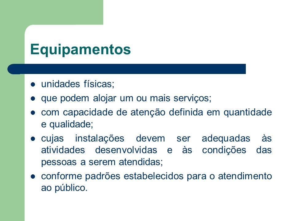 Equipamentos unidades físicas; que podem alojar um ou mais serviços; com capacidade de atenção definida em quantidade e qualidade; cujas instalações d