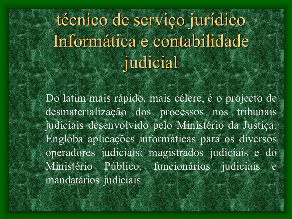 técnico de serviço jurídico Informática e contabilidade judicial Nelson Ferreira O CITIUS – Magistrados Judiciais é o nome da aplicação informática qu