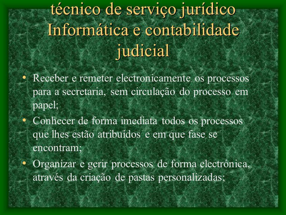 técnico de serviço jurídico Informática e contabilidade judicial Esta aplicação permite, entre outras vantagens, que os magistrados possam: Elaborar s