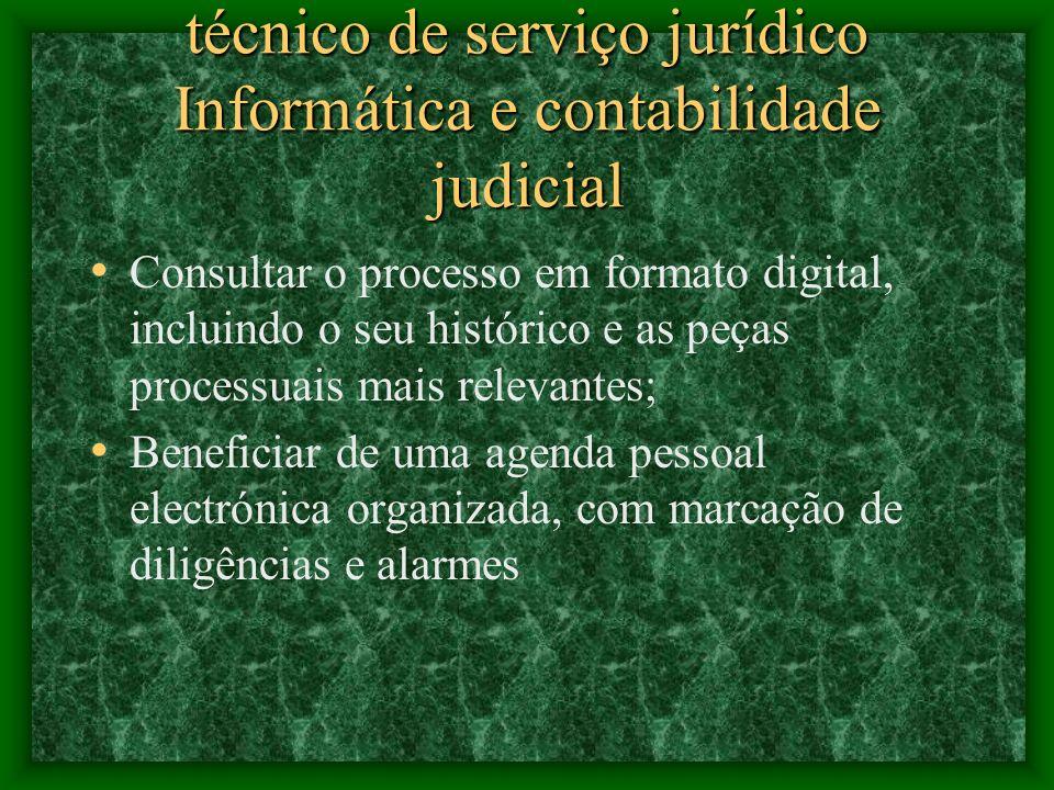 técnico de serviço jurídico Informática e contabilidade judicial Receber e remeter electronicamente os processos para a secretaria, sem circulação do