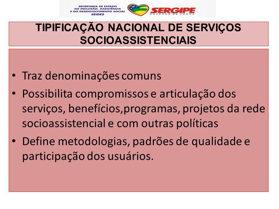TIPIFICAÇÃO NACIONAL DE SERVIÇOS SOCIOASSISTENCIAIS Traz denominações comuns Possibilita compromissos e articulação dos serviços, benefícios,programas