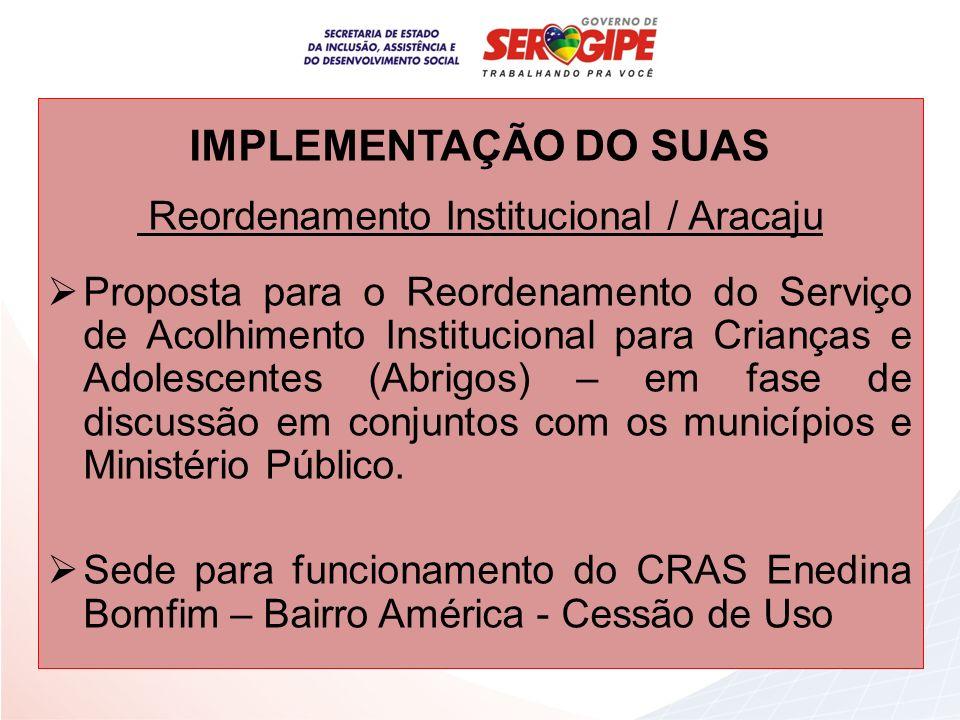 IMPLEMENTAÇÃO DO SUAS Reordenamento Institucional / Aracaju Proposta para o Reordenamento do Serviço de Acolhimento Institucional para Crianças e Adol