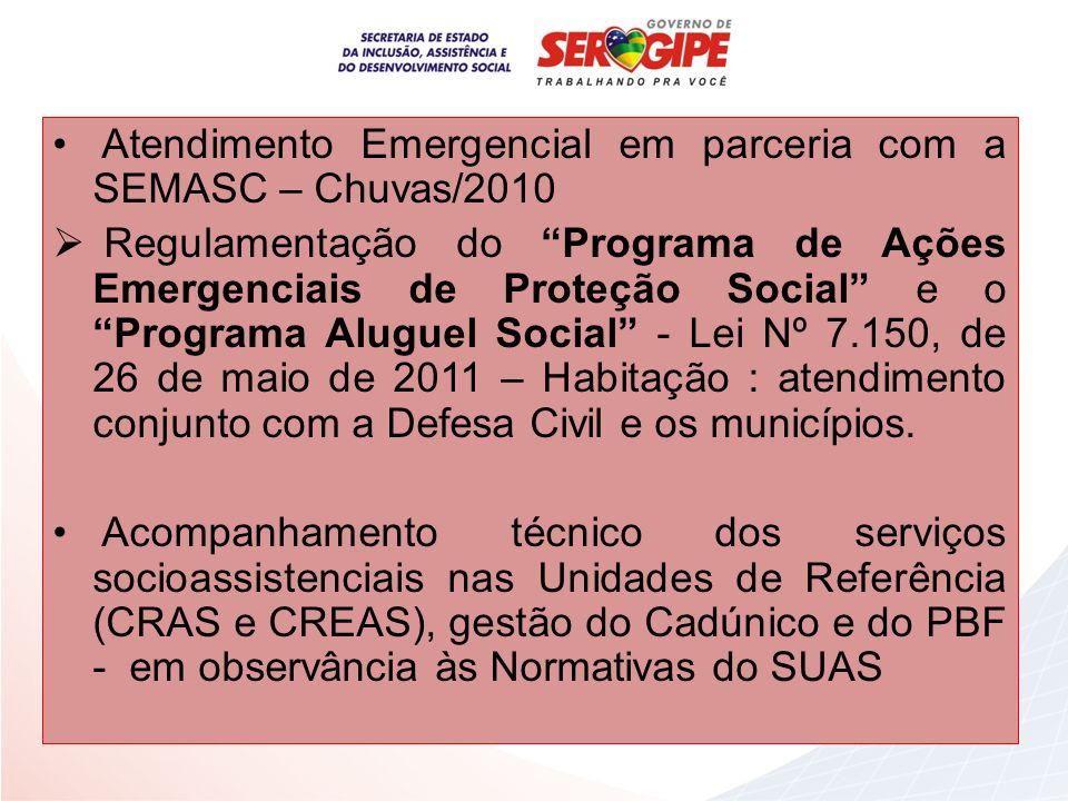 Atendimento Emergencial em parceria com a SEMASC – Chuvas/2010 Regulamentação do Programa de Ações Emergenciais de Proteção Social e o Programa Alugue