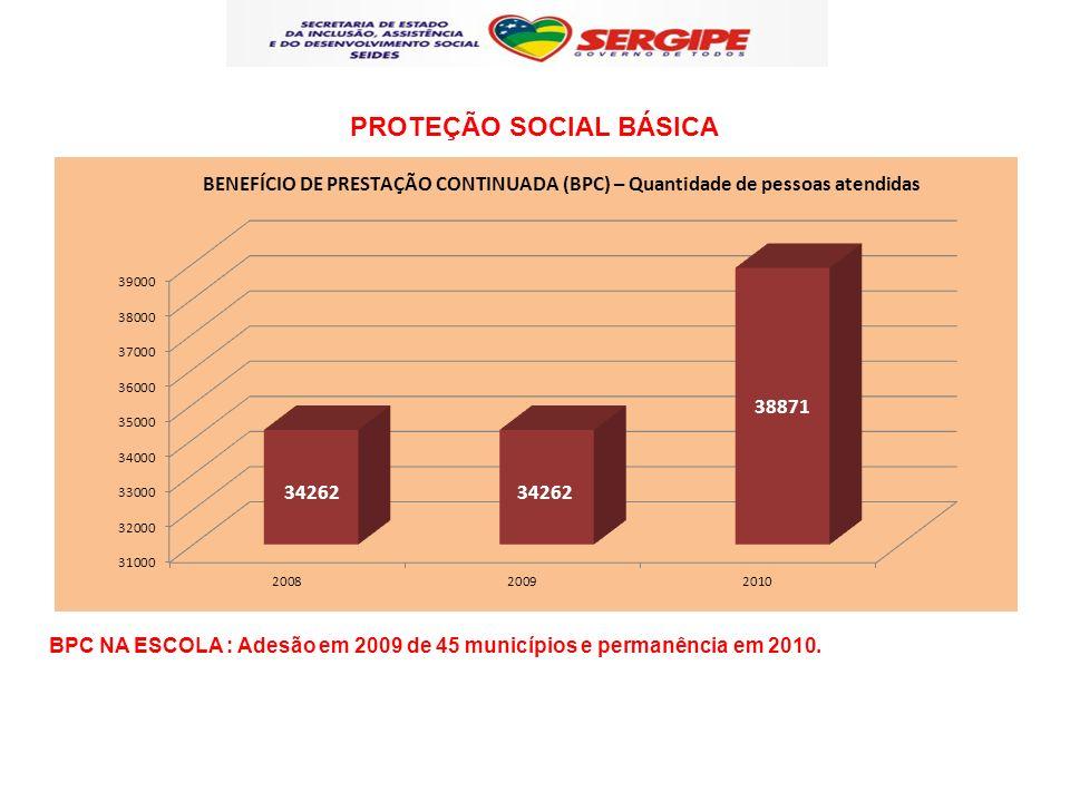 BPC NA ESCOLA : Adesão em 2009 de 45 municípios e permanência em 2010. PROTEÇÃO SOCIAL BÁSICA