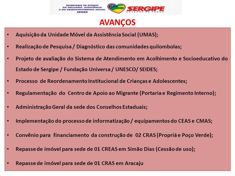 AVANÇOS Aquisição da Unidade Móvel da Assistência Social (UMAS); Realização de Pesquisa / Diagnóstico das comunidades quilombolas; Projeto de avaliaçã