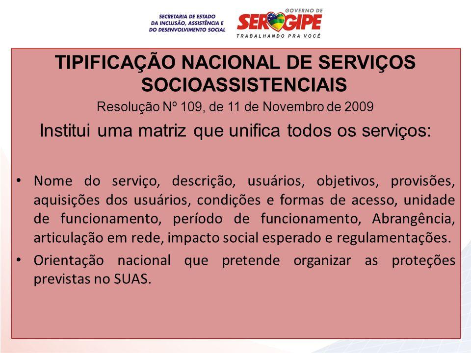 TIPIFICAÇÃO NACIONAL DE SERVIÇOS SOCIOASSISTENCIAIS Resolução Nº 109, de 11 de Novembro de 2009 Institui uma matriz que unifica todos os serviços: Nom