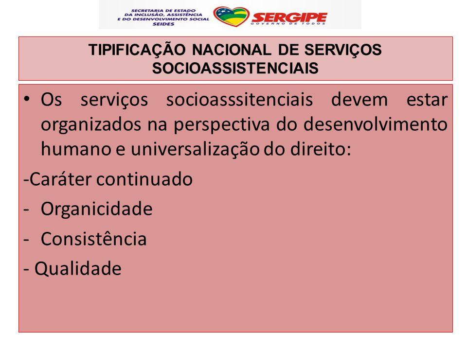 TIPIFICAÇÃO NACIONAL DE SERVIÇOS SOCIOASSISTENCIAIS Os serviços socioasssitenciais devem estar organizados na perspectiva do desenvolvimento humano e