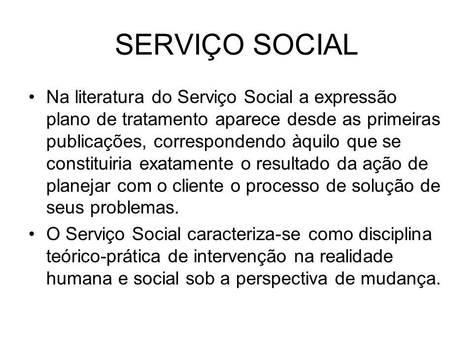 SERVIÇO SOCIAL Na literatura do Serviço Social a expressão plano de tratamento aparece desde as primeiras publicações, correspondendo àquilo que se co