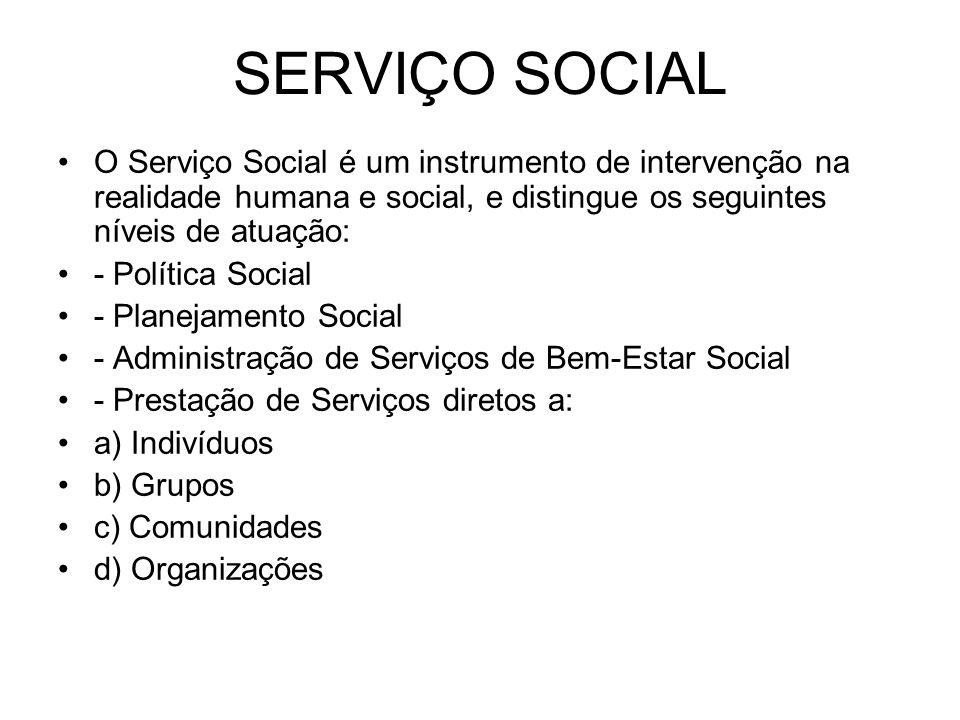 SERVIÇO SOCIAL O Serviço Social é um instrumento de intervenção na realidade humana e social, e distingue os seguintes níveis de atuação: - Política S