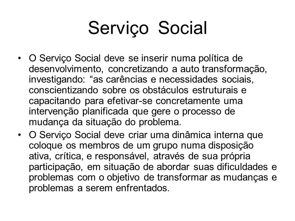 Serviço Social O Serviço Social deve se inserir numa política de desenvolvimento, concretizando a auto transformação, investigando: as carências e nec